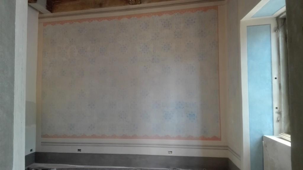 Restauro pareti a finta tappezzeria blu firenze italia for Tappezzeria pareti